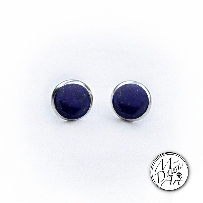 Natural Lapis Lazuli Stainless Steel 8mm Stud Earrings  image 0