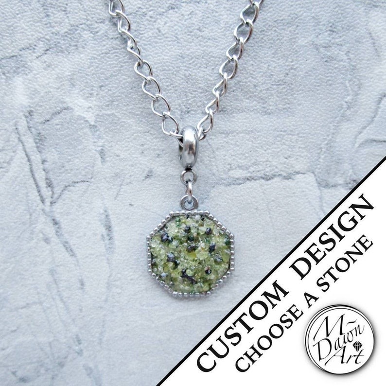 Mens Personalized Crushed Stone or Shell Inlay Hexagon Pendant Peridot