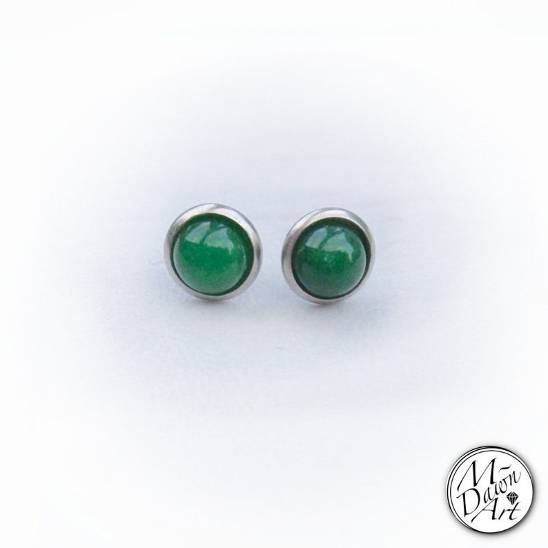 Natural Green Jade Stainless Steel 8mm Stud Earrings  Silver image 0