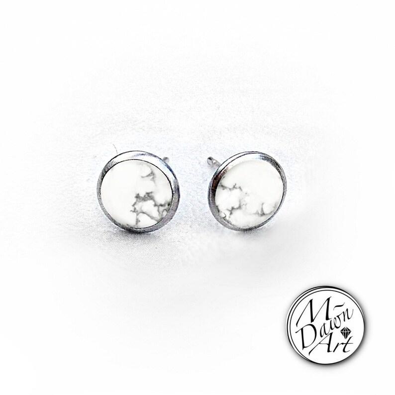Natural Howlite Stainless Steel 8mm Stud Earrings  Silver image 0