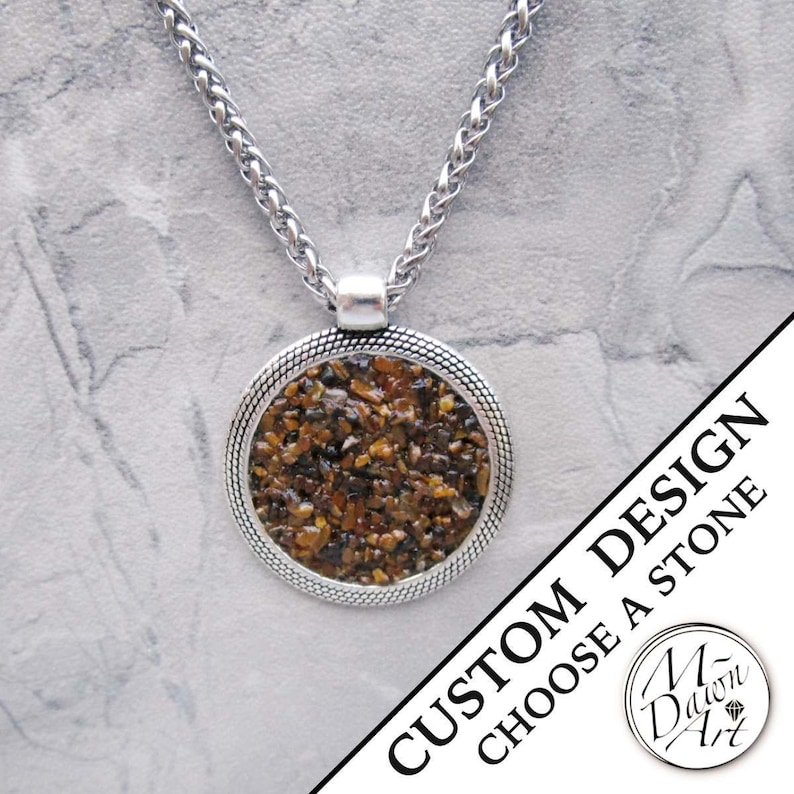 Mens Personalized Natural Crushed Gemstone or Shell Inlay image 0
