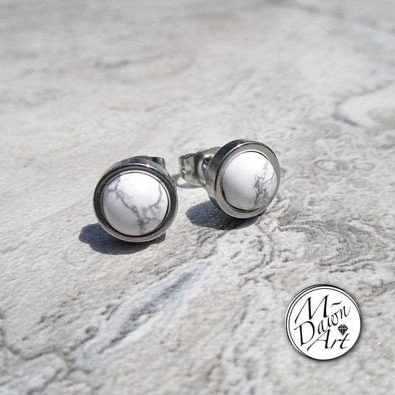 Natural Howlite Stainless Steel 8mm Flat Frame Round Stud image 0