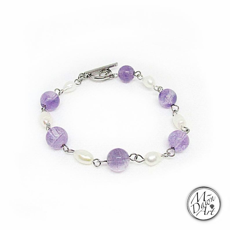Amethyst Gemstones and Freshwater Pearls Beaded Toggle image 0
