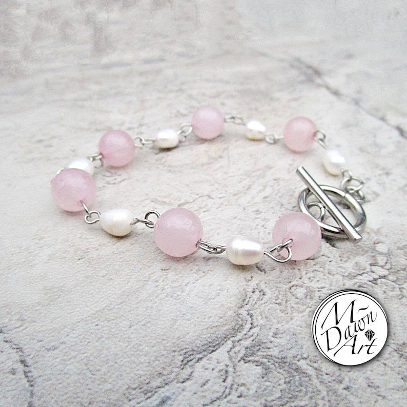 Natural Rose Quartz and Freshwater Pearl Bead Stainless Steel image 0