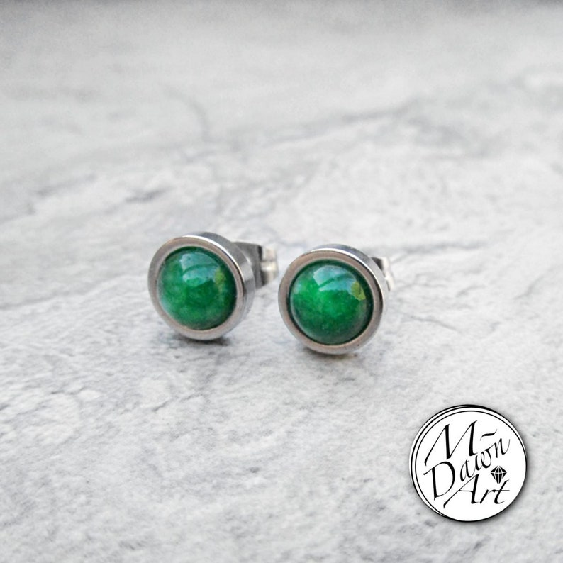 Natural Green Jade Stainless Steel 8mm Flat Frame Round Stud image 0