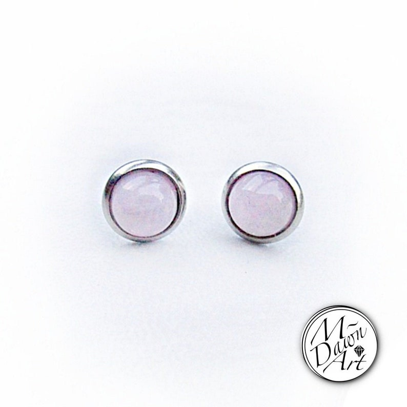 Natural Rose Quartz Stainless Steel 8mm Stud Earrings  Silver image 0