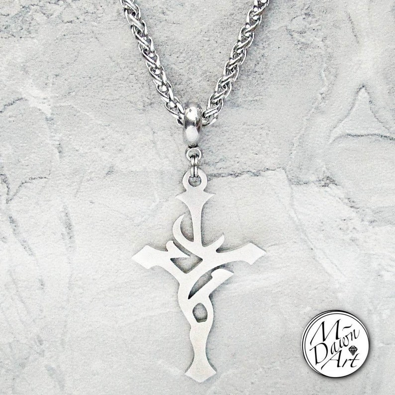 Mens Tribal Cross Stainless Steel Pendant & Wheat Chain image 0