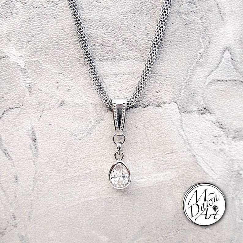 Cubic Zirconia Silver Teardrop Pendant and Stainless Steel image 0