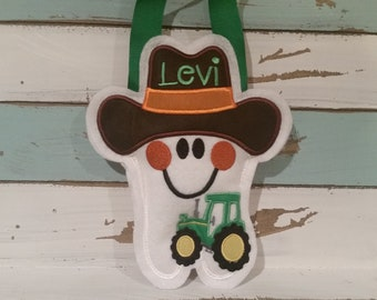 Tooth Fairy Pillow Farmer~ Boy~ Personalized Tractor Tooth Fairy Pillow~ Boy Tooth Fairy Pillow~Tooth Pillow~Tractor~Farmer~ Gift