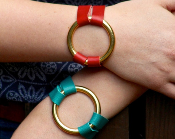 The Essential Leather and Brass Bracelet - Red and Teal