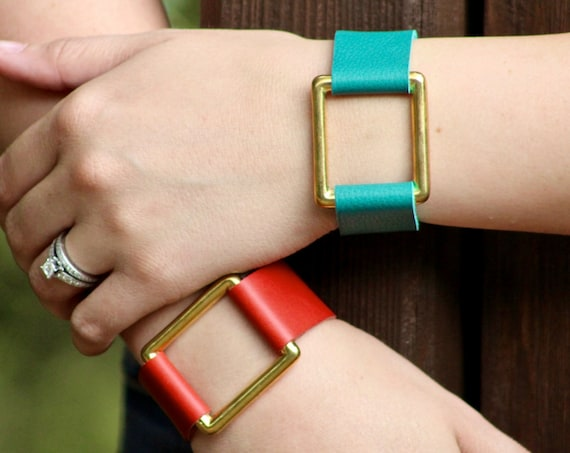 The Essential Leather and Brass Bracelet - Red and Teal with a Square Brass Ring