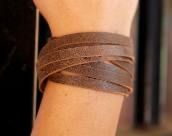 Leather Wrap Bracelet with a Twist - Silver - 6 Colors (Browns, Black and White)