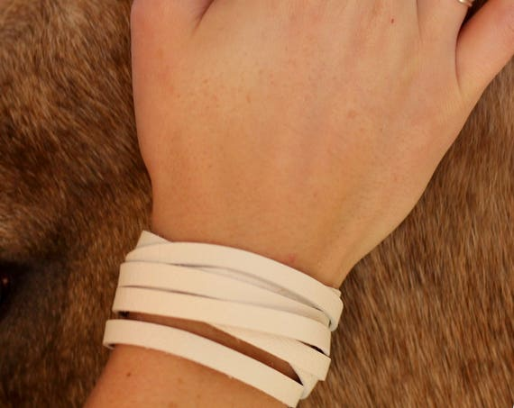 The Leather Wrap Bracelet with a Twist - Brass - Black and White