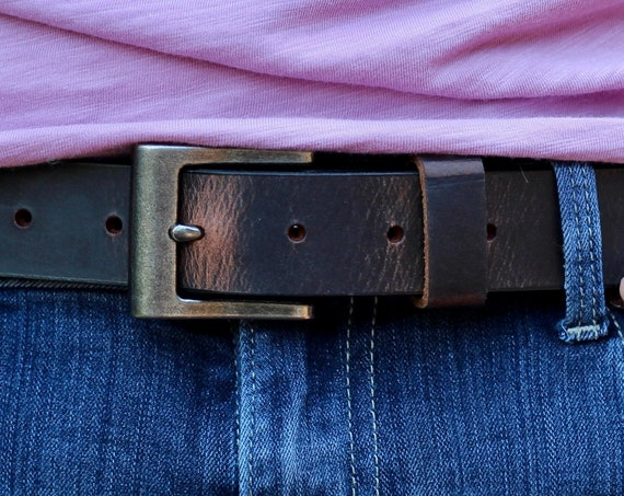 "Handmade 1 1/4"" Leather Belt - 5 Colors (Brown, Tan, Blue, Grey and Black)"