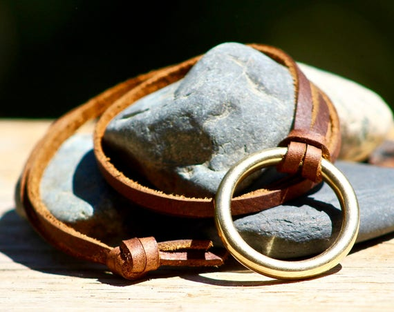 Leather Lace Necklace with Brass Ring