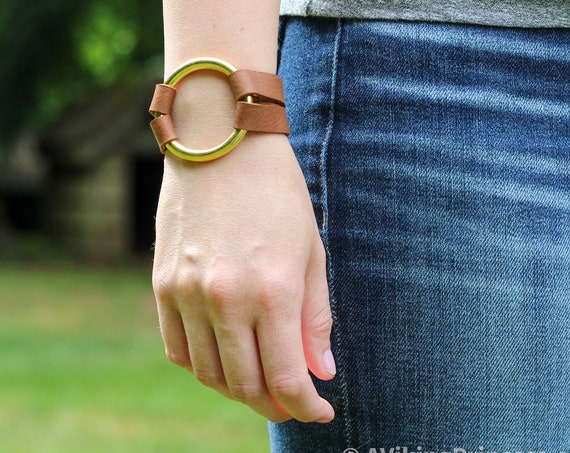 Essential Leather and Brass Bracelet - Brown, Tan and Black