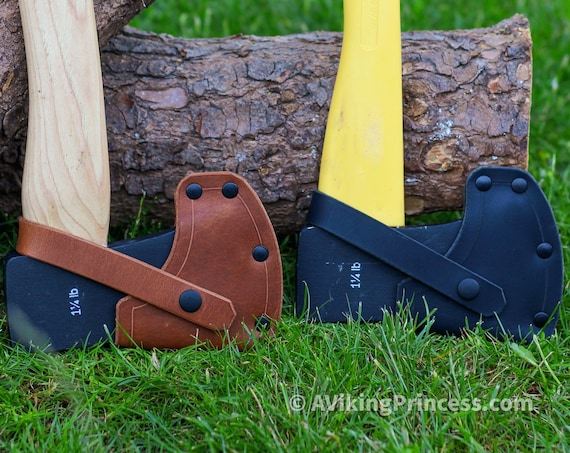 Leather Sheath for Harbor Freight PITTSBURGH 1-1/4 lb Axe (Hickory and Fiberglass Axe) Brown and Black