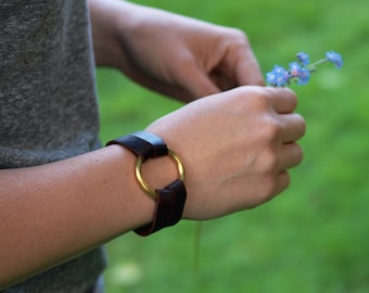 Petite Essential Leather and Brass Bracelet - Brown, Tan and Black