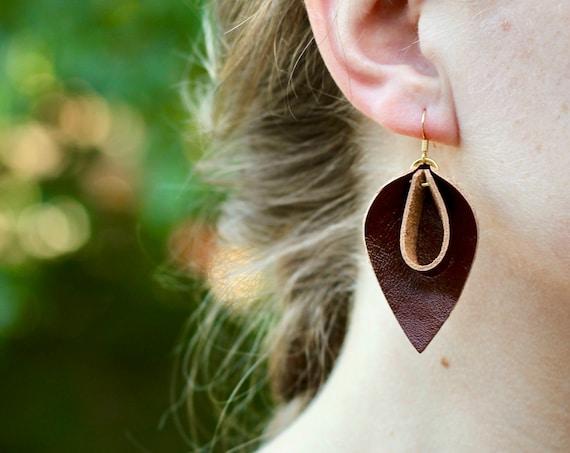 Essential Leather Loop Teardrop Earrings - Brown or Tan