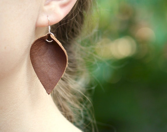 Essential Leather Teardrop Earrings - Brown or Tan
