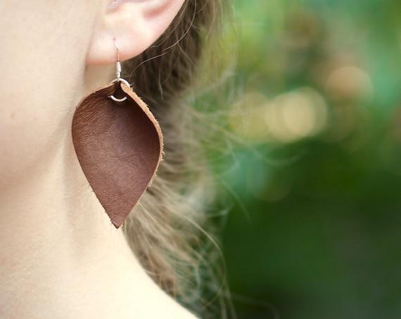 Essential Leather Teardrop Earrings - Brown or Tan