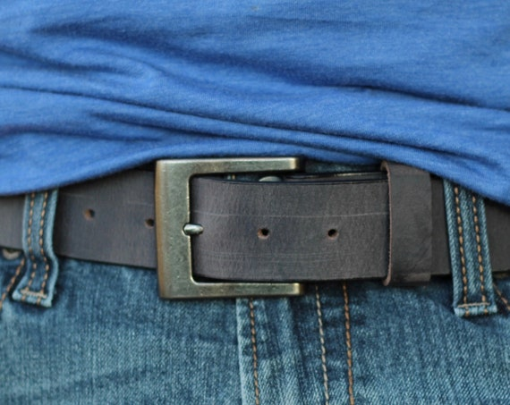 "Handmade 1 1/2"" Leather Belt - 5 Colors (Brown, Tan, Blue, Grey and Black)"
