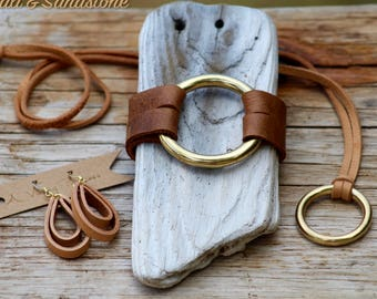 The Essential Brass Jewelry Set - Black, Brown and Tan