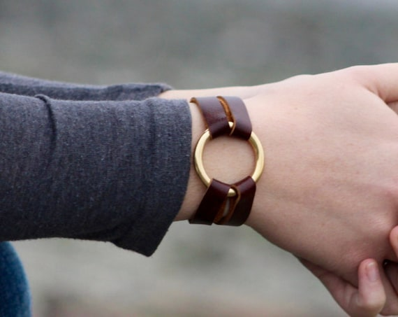 Petite Essential Leather and Brass Bracelet - 6 Colors (Browns, Black and White)