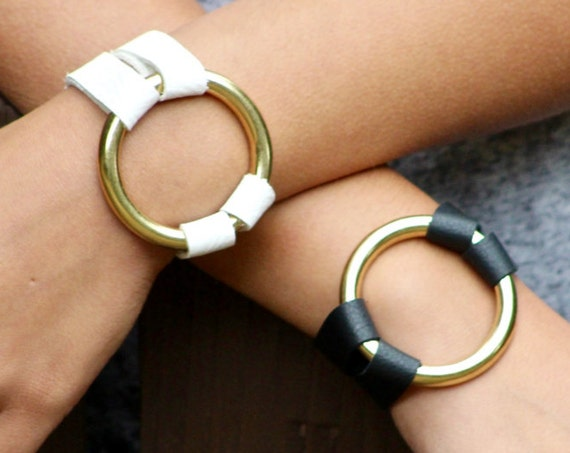The Essential Leather and Brass Bracelet - Black and White