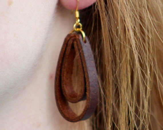 Simple Brass and Leather Lace Earrings - Brown, Black, or Tan