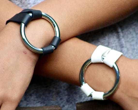 The Essential Leather and Silver Bracelet - Black and White