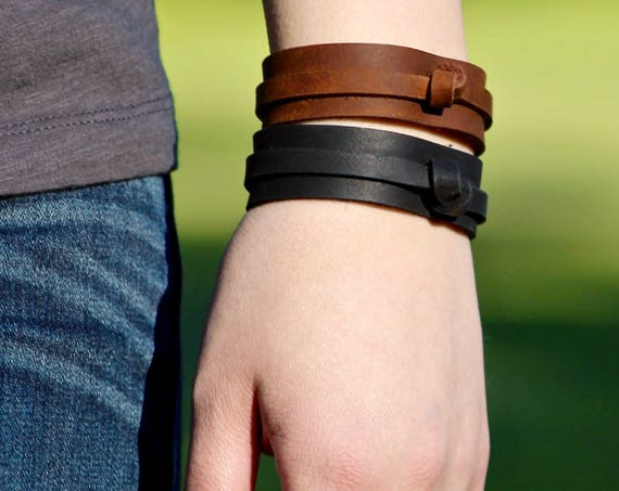 Knotted Leather Bracelet - Brown or Black