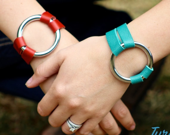 The Essential Leather and Silver Bracelet - Red and Teal