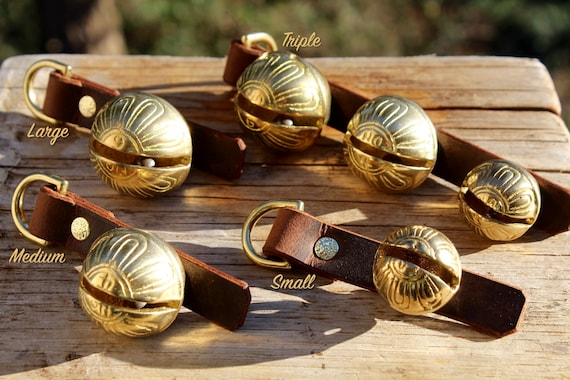 Brass Sleigh Bells - D Ring, Scissor Clip or Door Hanger - Large, Medium, Small and Triple