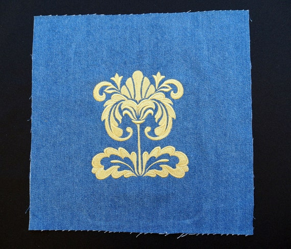 6 blocs brodé: de tissu brodé: blocs damassé fleur dessins pour couettes, tentures murales, etc.. 5d1146