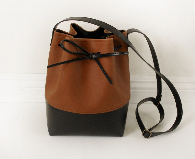 Brown and black vegan leather bucket bag  3085e0fa2ba56