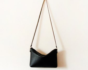 Simple black leather crossbody bag with zipper