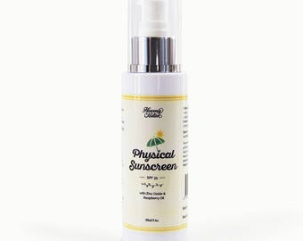 Natural Physical Sunscreen with organic raspberry oil & zinc oxide