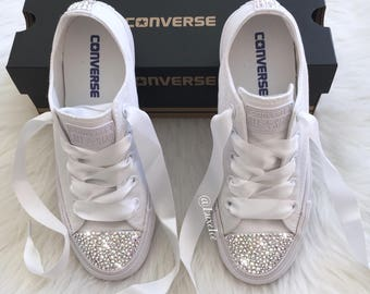 970b10e9474 Swarovski Converse All Star Chuck Taylor - Adult Sizes - White Monochrome  with SWAROVSKI® Xirius Rose-Cut Crystals AB.