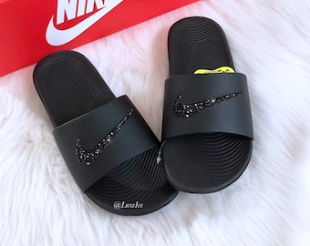 55f2c10a8a5736 Swarovski Nike KAWA Slides Black Sandals customized with Swarovski Crystals.