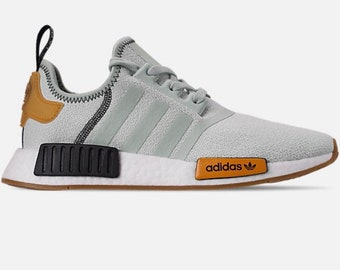 1f4dd1bd8f041 Swarovski Adidas NMD Runner Casual Shoes Vapour Green Bright Gold customized  with Swarovski Crystals.