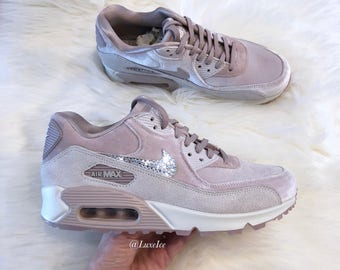 05fcac12d5c7 Nike Air Max 90 LX Velvet - Particle Rose Grey White customized with  SWAROVSKI® Crystals
