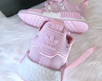 c55335388 Swarovski Adidas NMD R1 Shoes Clear Pink Shock Pink Footwear White  customized with SWAROVSKI® Xirius Rose-Cut Crystals AB.