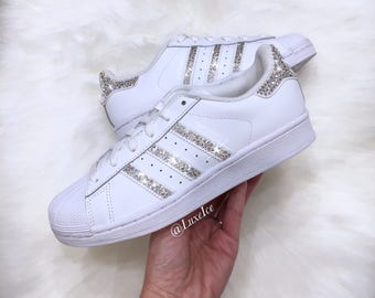 on sale e7b00 1acac Swarovski Adidas Originals Superstar - White - with SWAROVSKI® Xirius Rose-Cut  Crystals.