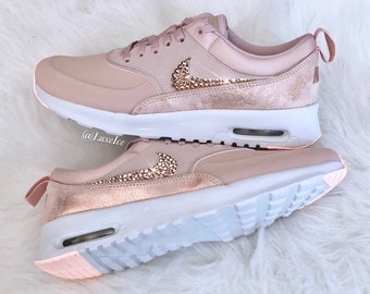 new arrival a241c f1e77 Swarovski Nike Air Max Thea Premium - Particle Beige Summit White Crimson  Tint Blinged with SWAROVSKI® Xirius Rose-Cut Crystals.