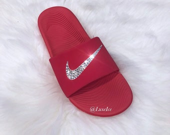 e96c1c387e00e7 Nike KAWA Slides Flip Flops Red customized with Swarovski Crystals