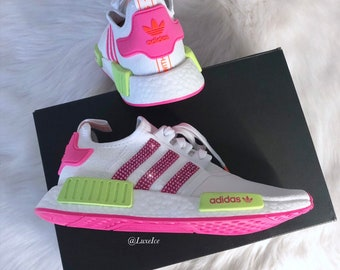 best website d9430 23cde Swarovski Bling Adidas NMD R1 Neon customized with SWAROVSKI® Xirius  Rose-Cut Crystals.