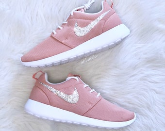 32d751777b2cf7 Swarovski Nike Roshe One Casual Shoes - Coral Stardust White customized  with SWAROVSKI® Xirius Rose-Cut Crystals.