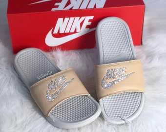 924c86b5800191 Nike Benassi JDI Slides Flip Flops customized with Swarovski Crystals.