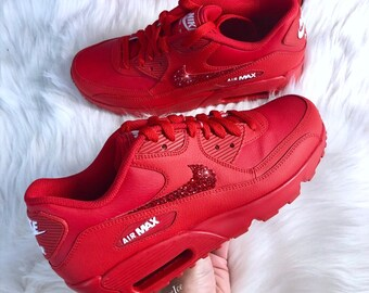 size 40 1167c 83706 Swarovski Nike Air Max 90 Casual Shoes Red customized with Red SWAROVSKI® Xirius  Rose-Cut Crystals.